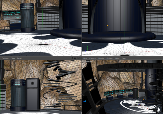 Work in Progress scenografia, set virtuale Bat Caverna.